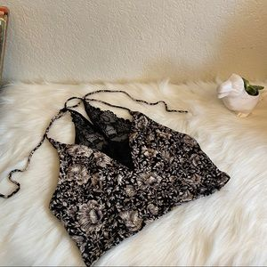 Free People Black and White Floral Lace Crop top